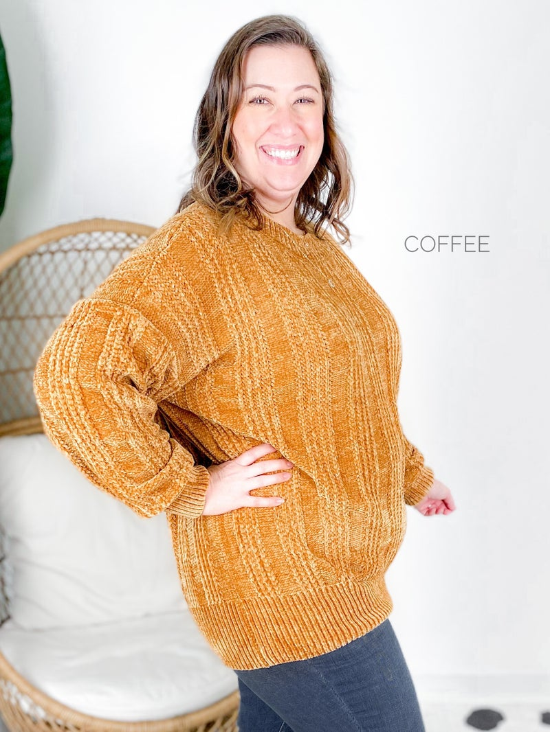 Doorbuster PLUS Cable Knit Chenille Sweater (Multiple Colors)