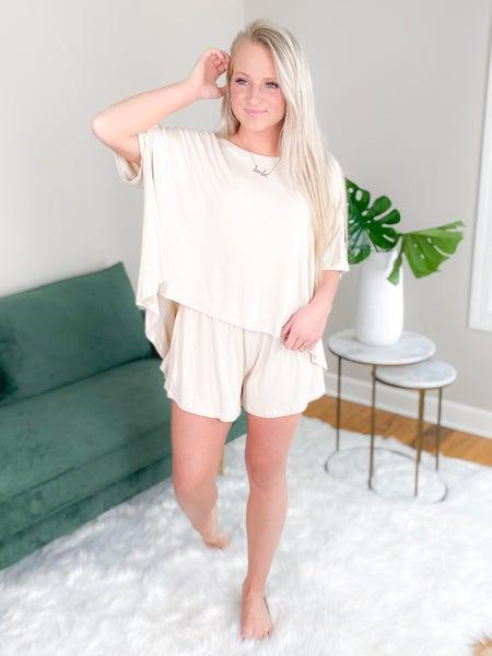 Solid Short Sleeve Knit Lounge Short Set (Multiple Colors)