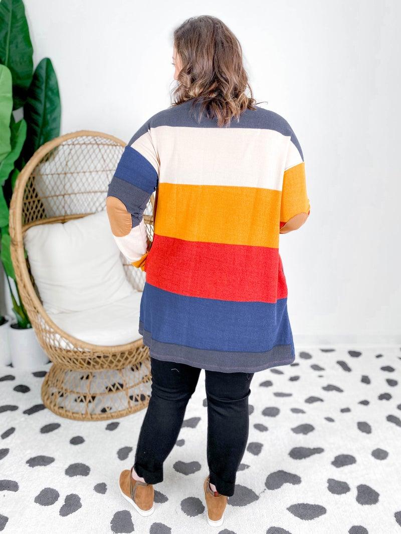 PLUS/REG Multi Color Stripe Cardigan With Elbow Patch Detail