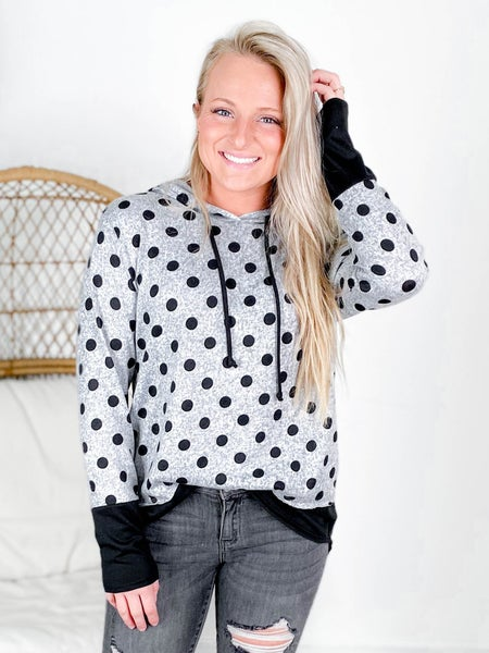 PLUS/REG Heather Grey Polka Dot Hooded Top