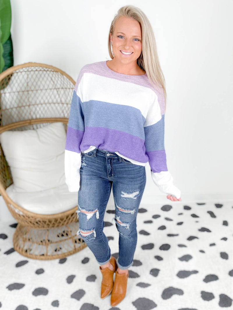 PLUS/REG Purple Stripe Color Block Sweater
