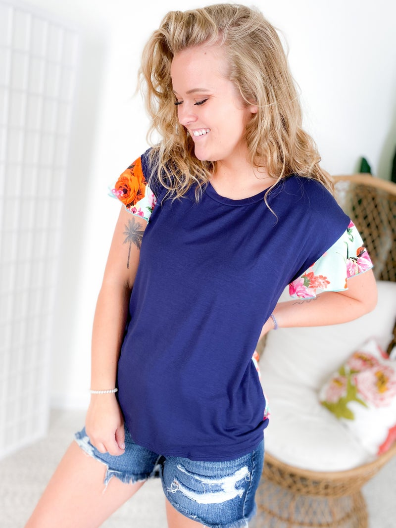 Solid Navy Top with Neon Floral Back & Ruffle Sleeves