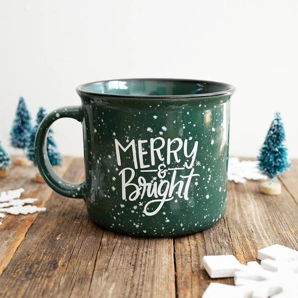 'Merry & Bright' Green Stonewear Mug