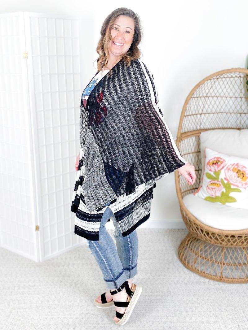 PLUS/REG Diagonally Striped Open Knit Cardigan