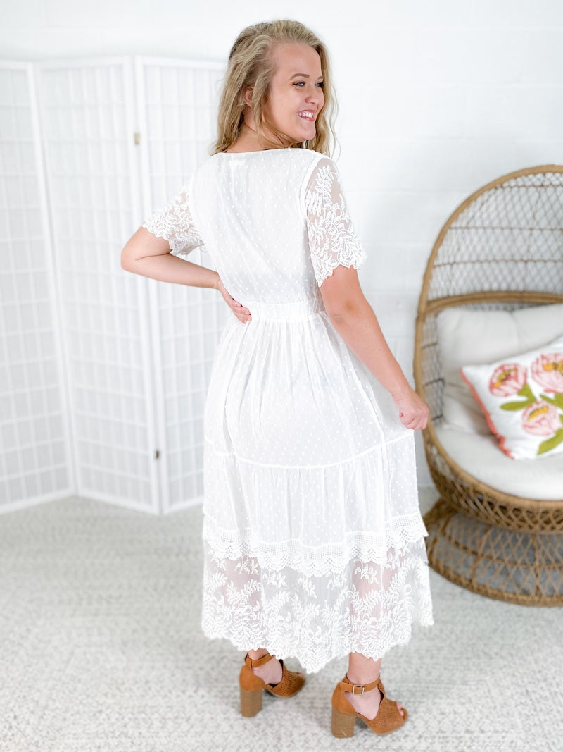 Ivory Maxi Dress with Lace Trimmed Detail