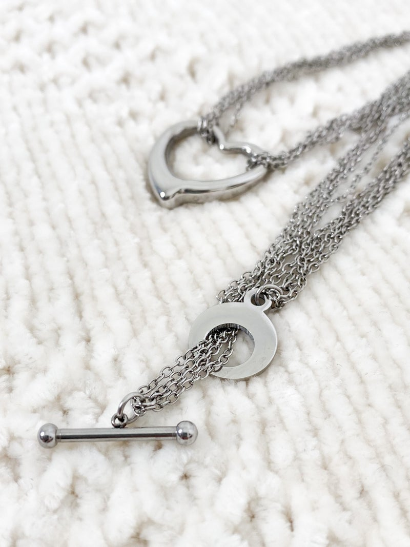Silver Polished Open Heart Necklace