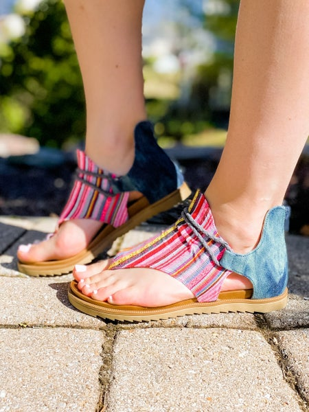 Colorful Stripe Casual Thong Ankle Sandal (Multiple Colors)