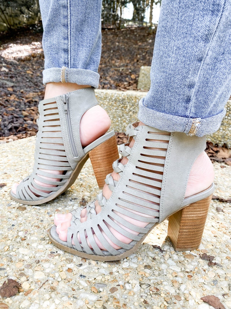 Braided Cutout Block Heels (Multiple Colors)
