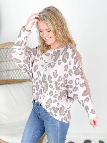 PLUS/REG Honeyme Taupe & Brown Leopard Top With Sequin Dolman Sleeve Detail