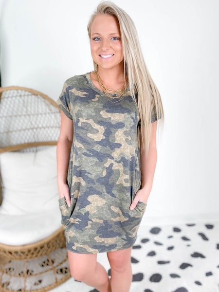Camo Shift Dress with Pockets