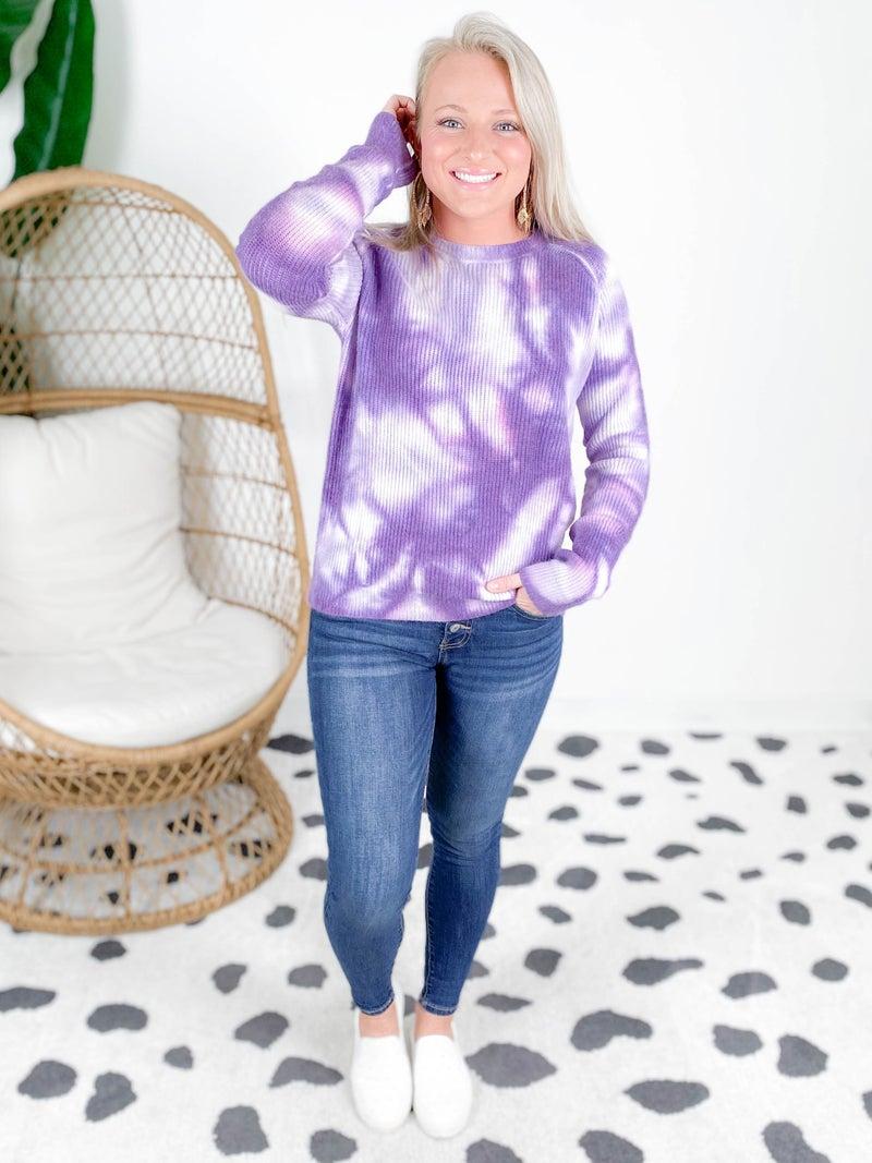 PLUS/REG Purple Tie Dye Knit Sweater
