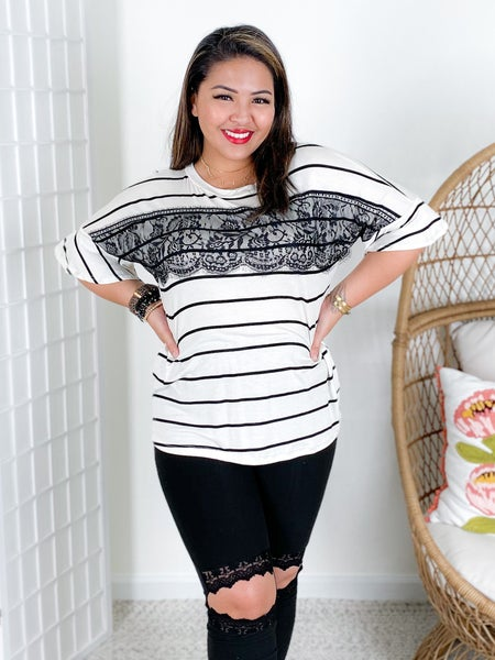 Striped Top with Black Eyelash Lace Front Detail