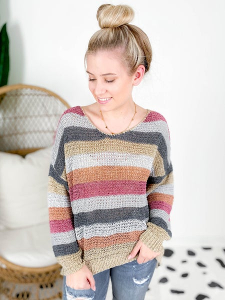 PLUS/REG Stripe Pullover Top (Multiple Colors)