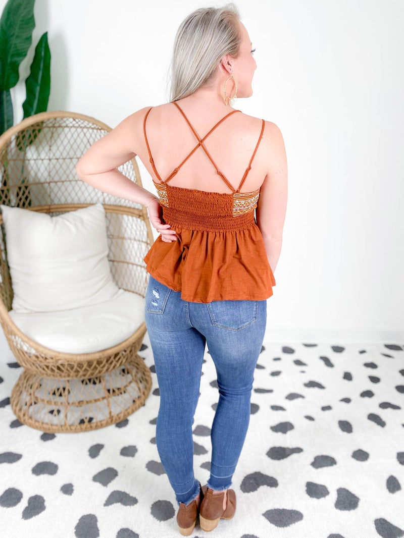 Rust Embroidery Babydoll Cami Top