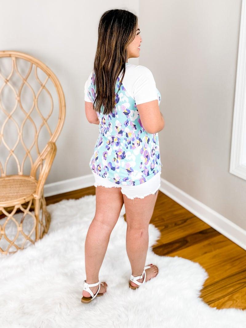 PLUS/REG Short Sleeve Mint And Lavender Leopard Top