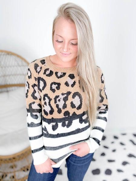 Chenille Leopard & Stripe Sweater