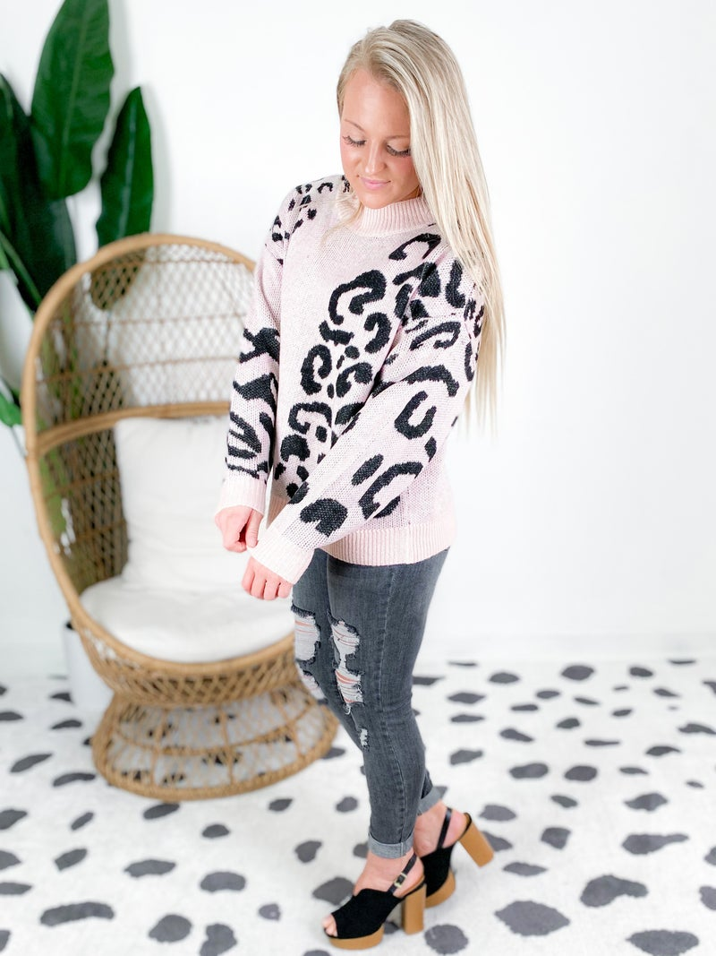 Blush Leopard Loose Fit Sweater Top