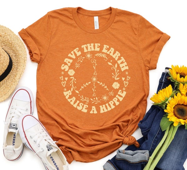 Save the earth, raise a hippie Graphic t