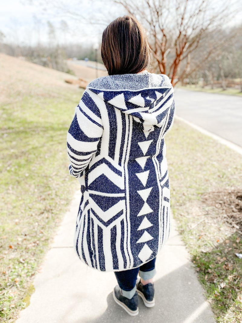 PLUS/REG Long Aztec Open Cardigan Hoodie