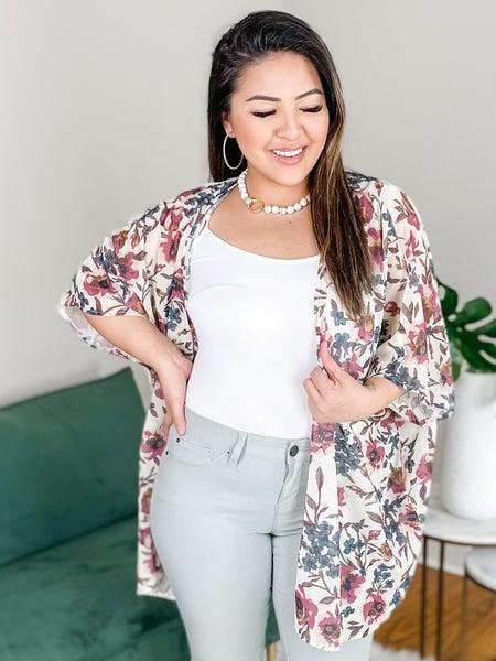 PLUS/REG Floral Kimono Cardigan