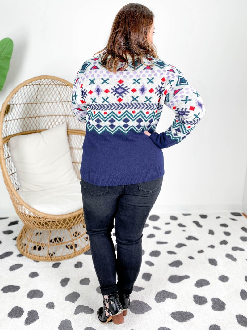 POPPY DAY! PLUS/REG Navy Graphic Aztec Sweater