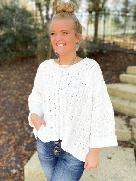 Oversized Boxy Cable Knit Pullover Sweater (Multiple Colors)