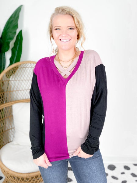 PLUS/REG Purple Color Block Top With Criss Cross Neck Detail