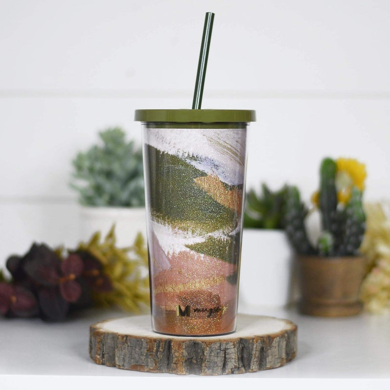 Fall Colors Glitter Travel Tumbler With Straw