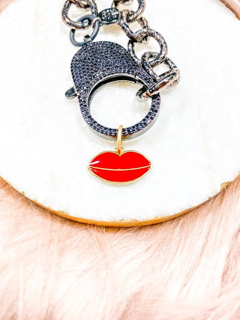 "Karli Buxton .75"" Red Enamel Lip Pendant"