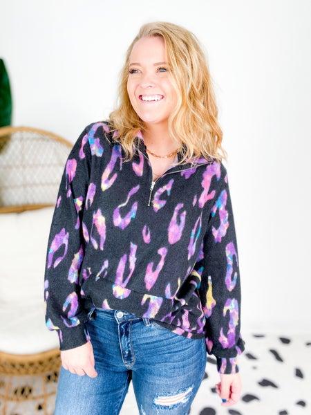Black & Purple Multi Color Leopard Fleece Sweater