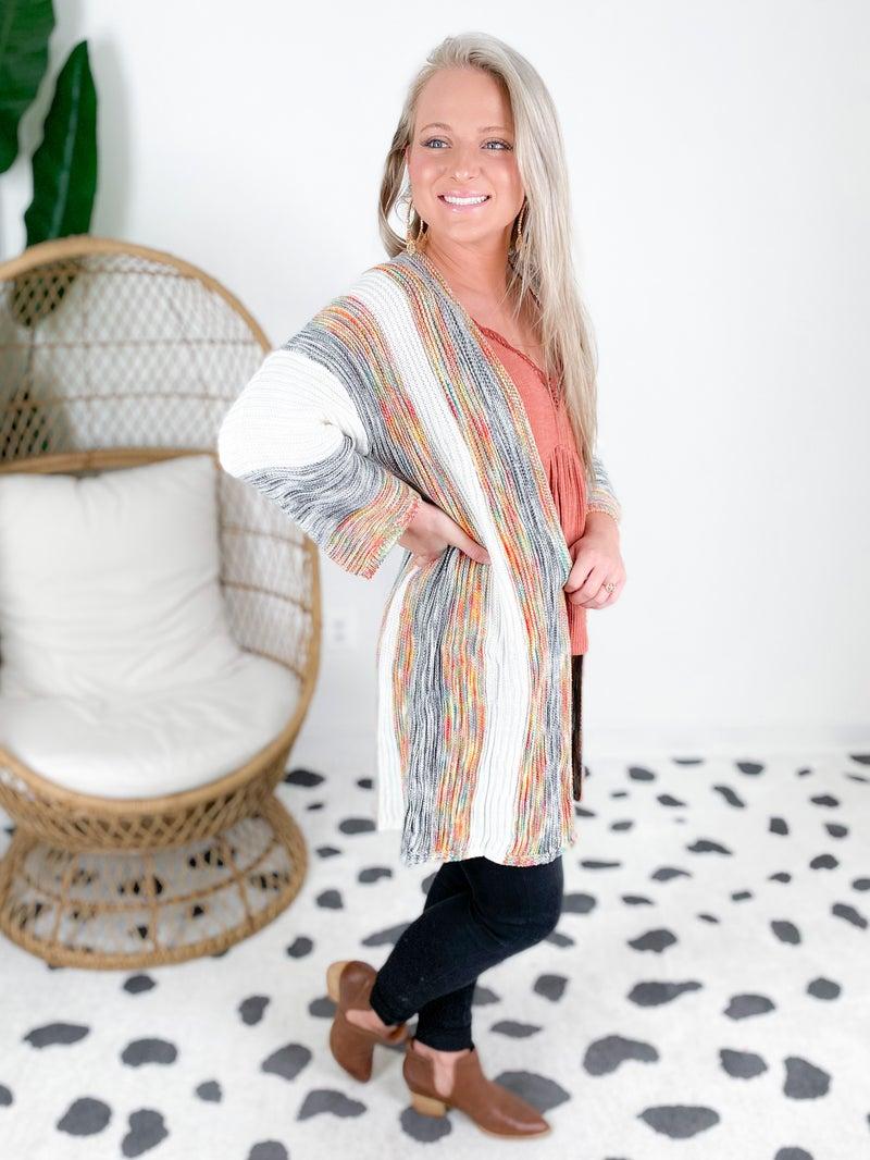 Multi Color Stripe Knit Cardigan (Multiple Colors)