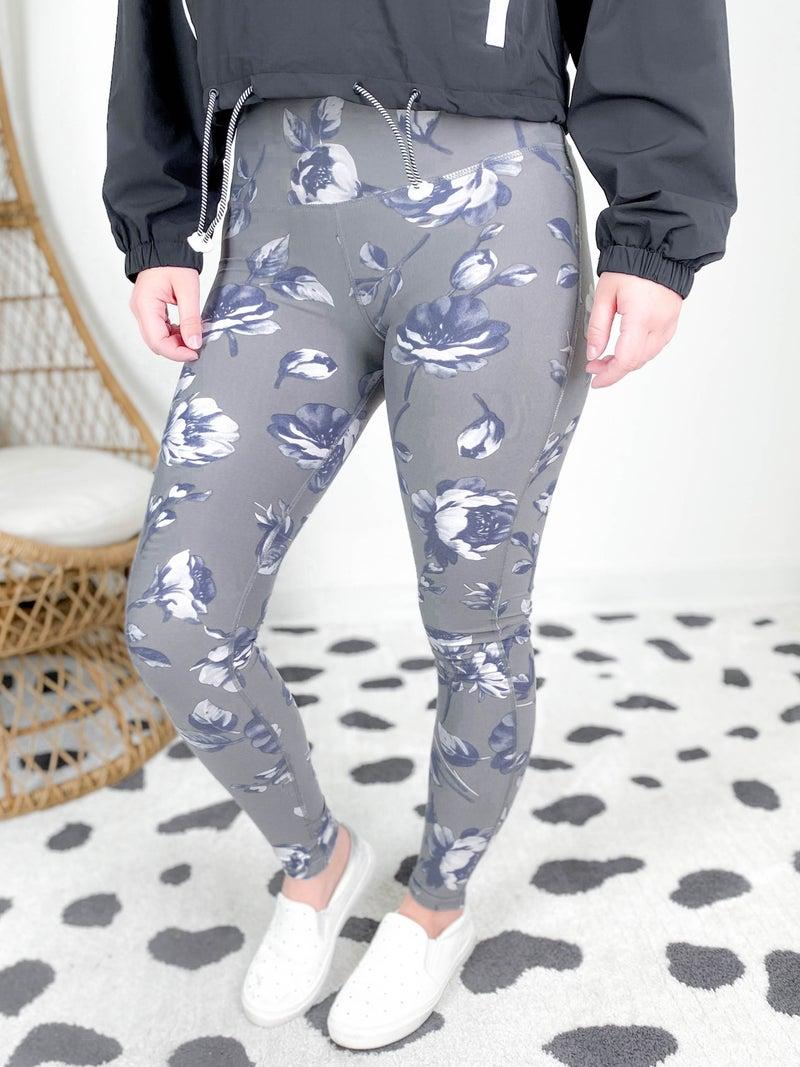 Grey Roses Highwaist Leggings