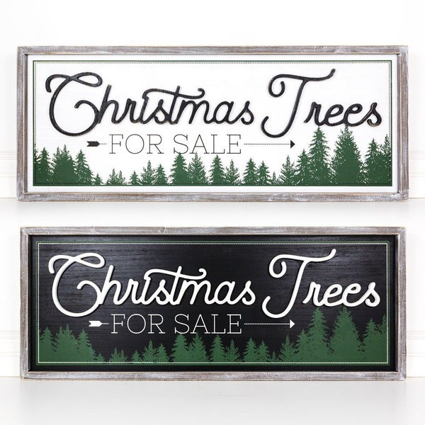 Christmas Trees for Sale Reversible Wooden Sign