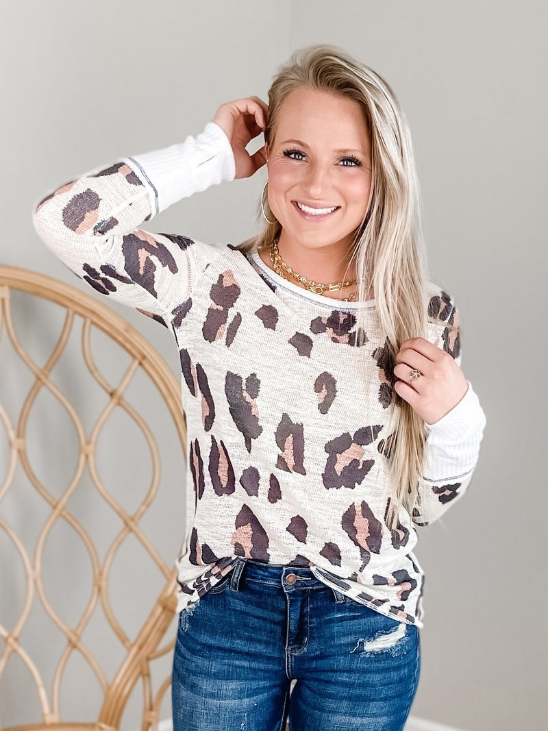 Long Sleeve Leopard Sweater With Thumb Opening Cuff (Multiple Colors)