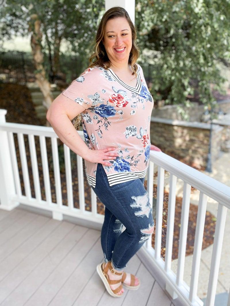 PLUS/REG Floral Print Top with Stripe Sleeve & Neckline Contrast (Multiple Colors)