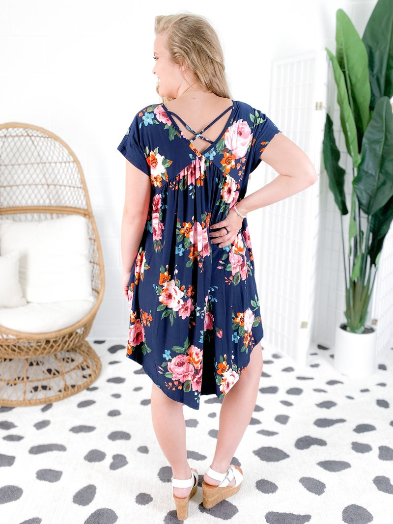 Navy Floral Babydoll Dress with Cross Back Detail