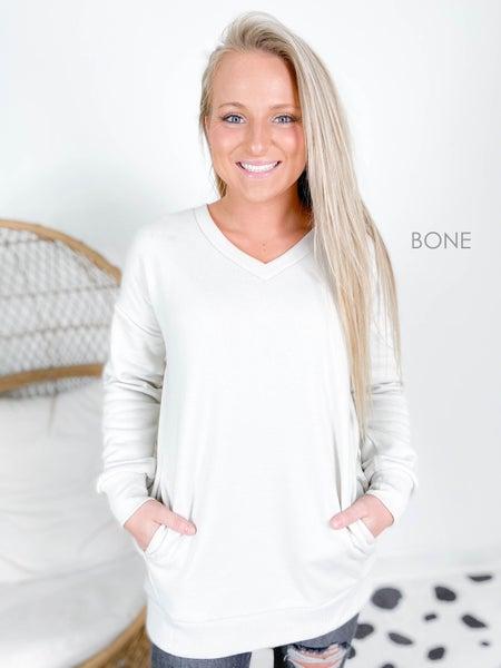 PLUS/REG Zenana V Neck Sweatshirt with Pocket (Multiple Colors)