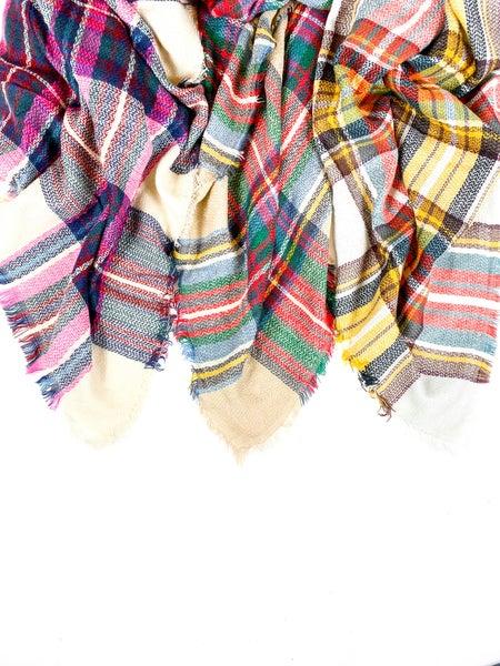 Plaid Blanket Scarf (Multiple Colors)