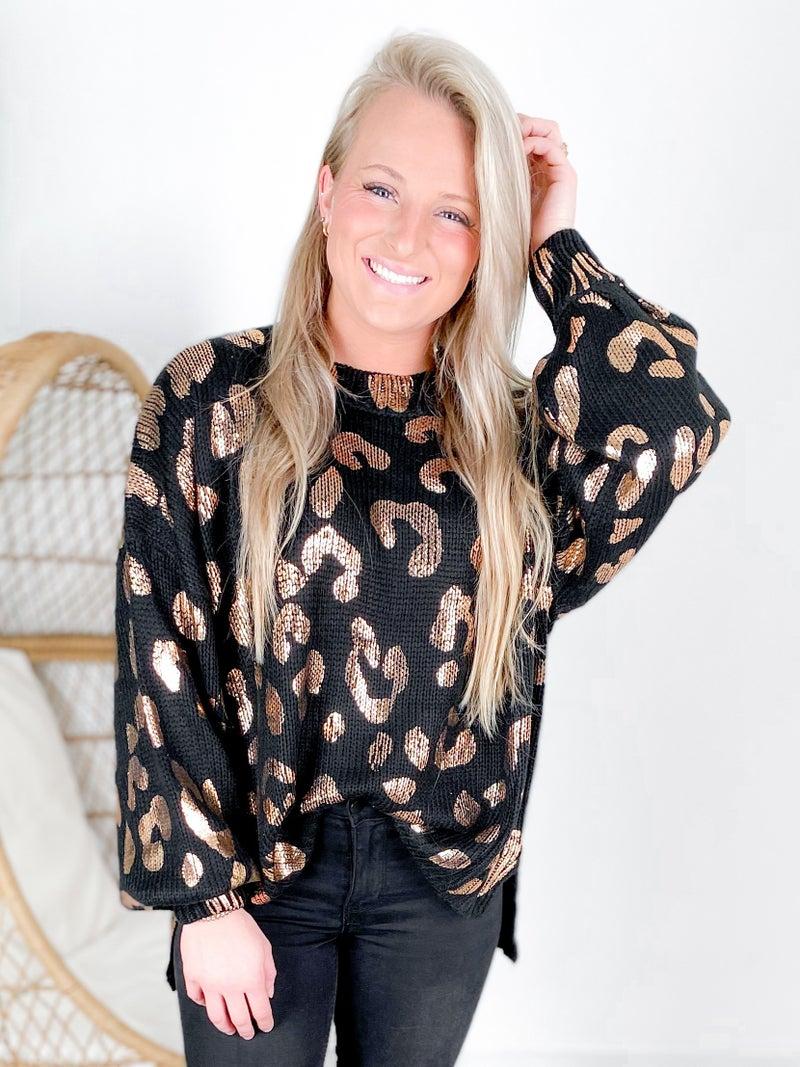 Metallic Leopard Print Oversized Sweater