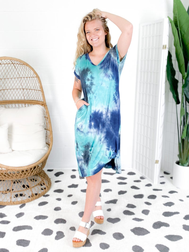 Tie Dye Side Twist Midi Dress (Multiple Colors)