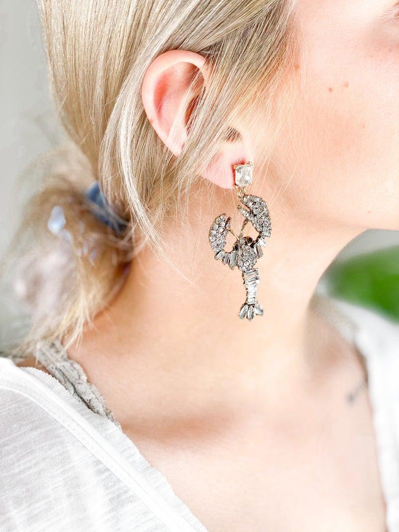 Rhinestone Lobster Earrings (Multiple Colors)