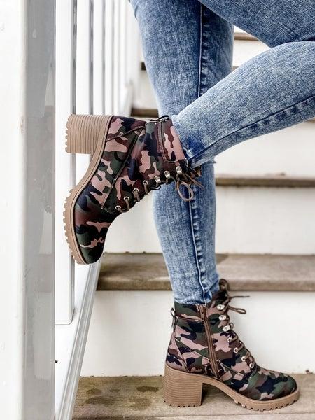 Camo Lace Up Block Heel Combat Boots