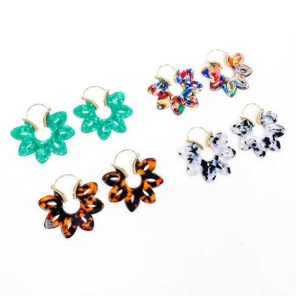RESTOCK! Gold Wire Flower Earrings (Multiple Colors)