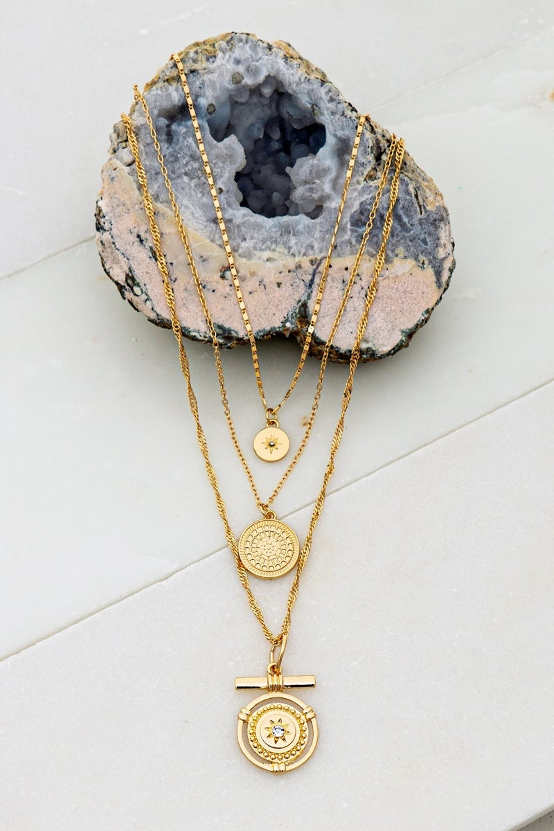 Gold Medallion Three Layer Necklace