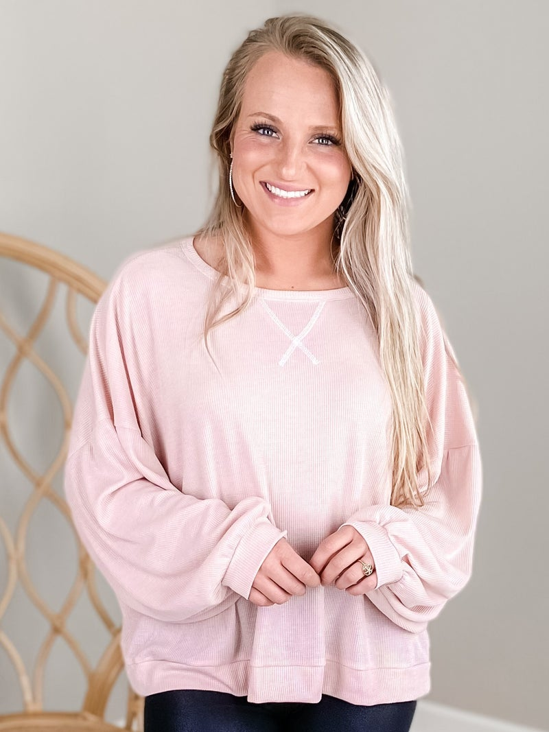 Solid Long Sleeve Mini Waffle Knit (Multiple Colors)
