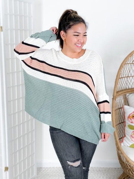 Sage Striped Rib Knit Sweater