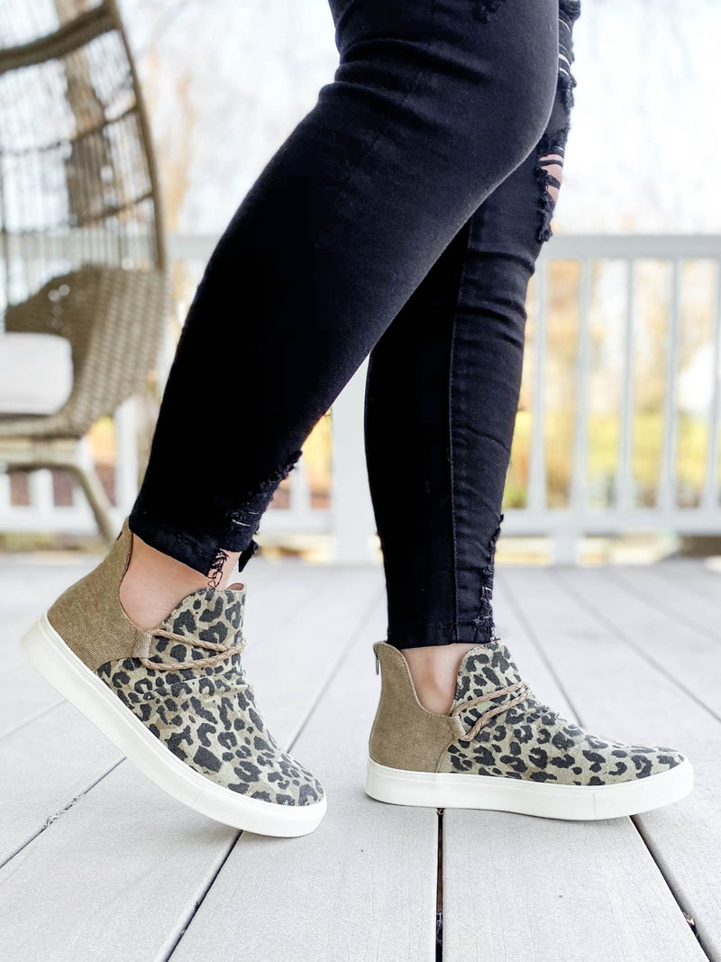 Tan Leopard High Top Slip On Shoes