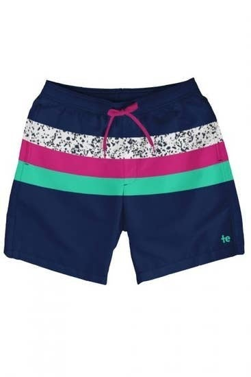 Colorblock Striped Mens Swim Trunks