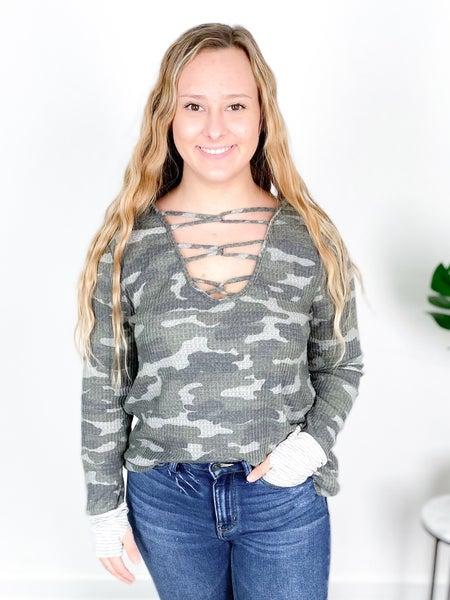 Camo Waffle Knit With Pin Striped Cuff
