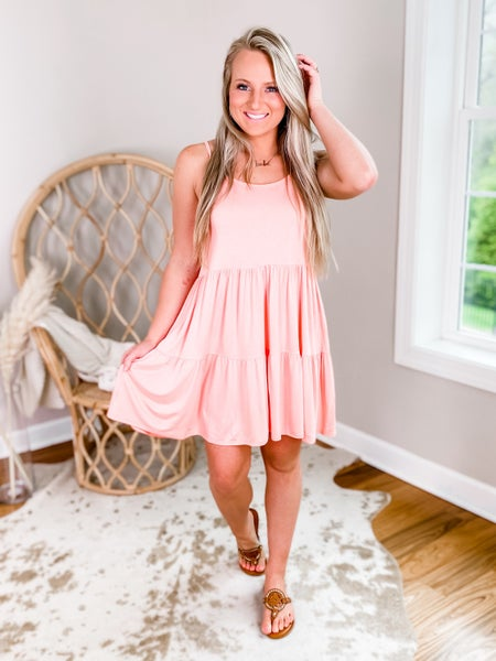 Solid Spaghetti Strap Dress With Lace Up Back Detail (Multiple Colors)